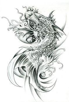 Koi Dragon Tattoo, Dragon Koi Tattoo Design, Small Dragon Tattoos, Koi Fish Tattoo, Japanese Leg Tattoo, Japanese Dragon Tattoos, Japanese Tattoo Designs, Japanese Sleeve Tattoos, Koi Tattoo Sleeve