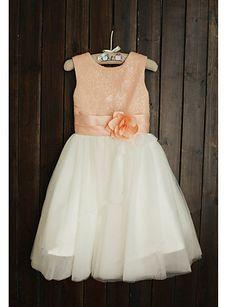 Flower Girl Dress Tea-length Tulle/Sequined A-line Short Sleeve Dress – USD $ 49.99