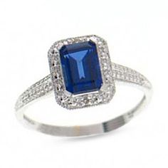 10K White Gold Emerald-Cut Lab-Created Sapphire Ring with Diamond Accents - View All Rings - Zales
