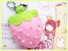 Would be cute as a necklace too! Pink Strawberry by ~li-sa on deviantART