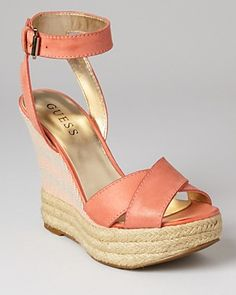 GUESS Kambria -- leather upper in California coral with ankle strap and a raffia/fabric platform wedge || Bloomingdale's