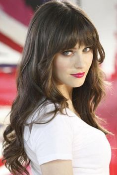 Zooey Deschanel Long Straight Dark Hair With Bangs Hairstyle; LOVE - Studentrate Trends - - Zooey Deschanel Long Straight Dark Hair With Bangs Hairstyle; Feathered Hairstyles, Pretty Hairstyles, Girl Hairstyles, Hairstyles 2018, Celebrity Hairstyles, Wedding Hairstyles, Full Fringe Hairstyles, Modern Hairstyles, Medium Hairstyles