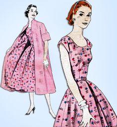 1950s Vintage Butterick Sewing Pattern 7278 Misses Dress & Swagger Coat Sz 30 B #Butterick #DressandCoat