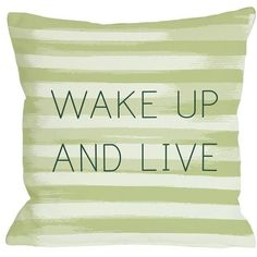 """14"""" x 20"""" Wake Up and Live Stripe Pillow in Green/Multi-Color 