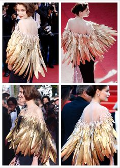 Laetitia Casta in a feather cloak. I love how it looks like the feathers are part of her, not clothing. Note: sheer top lightens the weight. But not real feathers! Think better. Dior Haute Couture, Robes Christian Dior, Christian Dior Couture, Dior Collection, Laetitia Casta, Festival Looks, Film Festival, Fantasy Dress, Fantasy Hair