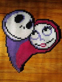 Jack and Sally - Nightmare Before Christmas perler beads by TheSleepyBear
