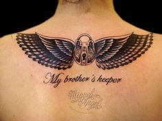 Padlock, Falcon wings and lettering custom tattoo