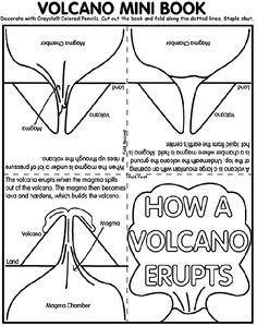 Volcano Mini Book coloring page