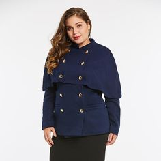 38bb2949267 Cape Mid-Length Long Sleeve Double-Breasted Button Plus Size Coat XL-3XL