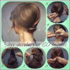 Sexy secretary in 60 seconds beehive bun. - How To Hair - DIY Hair Resource From How To Hair Girl