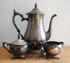 vintage silver tea set.  Pretty sure my mother actually owns this exact set... O.o