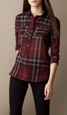 Burberry - Check Cotton Smock Shirt: This contemporary fitting shirt has a half placket (only buttons half-way down), making it easy to tuck in – no little open spaces by the waist of your pants or skirt. Plus Size Dressy Tops, Casual Tops, Cool Outfits, Casual Outfits, Fashion Outfits, Womens Fashion, Indian Fashion, Online Dress Shopping, Dress Online