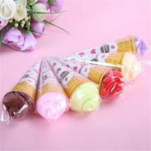 Portable Double Color Cute Soft Washing Towel Shaped Ice Cream Gift Favor(China (Mainland))