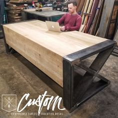 Maybe a dining table.Custom Waterfall Desk - Steel & Quarter Sawn White Oak. Welded Furniture, Industrial Design Furniture, Custom Furniture, Modern Furniture, Furniture Design, Custom Desk, Industrial Desk, Industrial Bedroom, Furniture Vintage