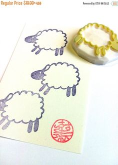 WINTER SALE 10%OFF >> happy crafty holidays!     sheep lamb hand carved rubber stamp. running around the farm! this little friend will be great