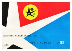 TypeToy illustration Brussels World Exhibition Official Plan 1958 red black blue star