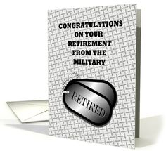 Congratulations-Retirement From The Military-Dog Tag Greeting Card. Customer in Kansas, Thank You!