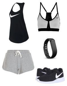 Workout Outfit by anjelicadeweese on Polyvore featuring polyvore, fashion, style, NIKE, New Look, Fitbit and clothing