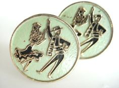 Vintage CUFFLINKS GOLD Pale GREEN Tone Latin SALSA DANCING COUPLE Men's Cufflinks, Vintage Cufflinks, Dancing Couple, Vintage Man, Salsa Dancing, Tie Pin, Handbags, Personalized Items, Green