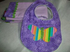 Purple 3 Piece Baby Burp Cloth and Bib by PeaPodLilFrogs on Etsy, $24.95