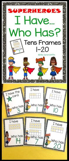 I Have Who Has | Tens Frames | Base Ten | Numbers to 20 | Math Games | Kindergarten | First Grade