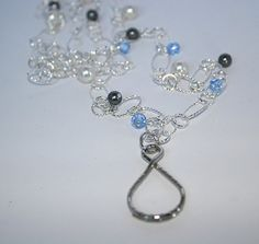Silver lanyard with pearls and crystals by Hanascrystals on Etsy, $36.00