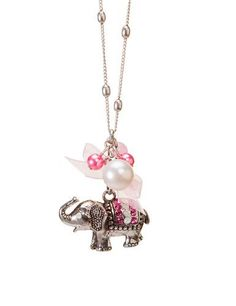 Womens Pink Pearl and Stone Elephant Fashion Pendant Necklace Shagwear. $17.99. 30 inches. Fashion Jewelry by Shagwear. Base metal with antique silver. Lobster claw clasp. Link chain