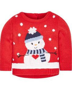 Okay, so we might not have a white Christmas this year, BUT that's no excuse for not having a snowman in your life! So, check out our round-up of snowman-themed Christmas jumpers for the whole family! Baby Christmas Jumper, Novelty Christmas Jumpers, Knitted Christmas Jumpers, Christmas Knitting, Christmas Sweaters, Xmas Jumpers, White Christmas Party Theme, White Christmas Outfit, White Christmas Movie