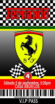 Ferrari Birthday Party Invitation JPEG and PDF Digital Download