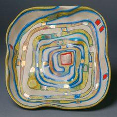 Hundertwasser Ceramic Screenprint Signed, Spiralental, 1983