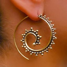 Beautiful Decorated Brass Hook Earrings - Tribal Jewelry - Hook Piercings - Brass Jewelry - Native Jewery - Ethnic Jewelry  Beautiful hand made brass hook in spiral shape set with tiny balls.  Suitable for normal ear piercing.  Length: 40 mm Bar size: 0.9mm Nickel free!  sold as pair only!  $27.9