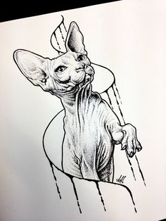 Sphynx cat sketch tattoo by AntoniettaArnoneArts