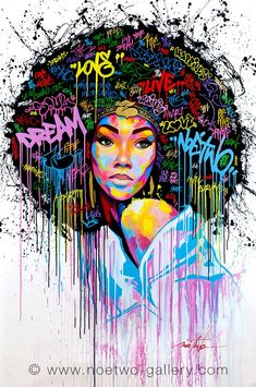 Street art from French artist Noe Two - Dream, graffiti Black Girl Art, Black Women Art, Art Women, Art Afro Au Naturel, Dope Kunst, Urbane Kunst, Natural Hair Art, Black Artwork, Inspiration Art