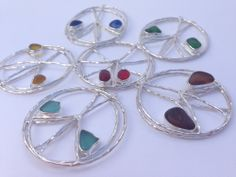 Peace be with you Peace sign Sea Glass Earrings