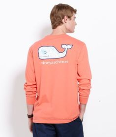 Long-Sleeve Map Whale Graphic Pocket T-Shirt
