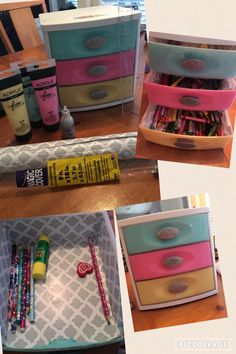 Sterilite drawer makeover as children's crayons, markers and art materials organizer.