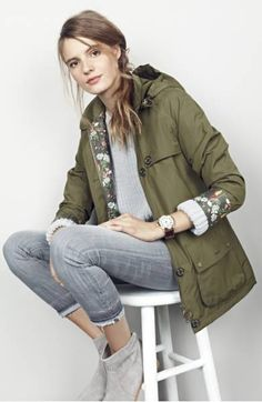 Barbour 'Wytherstone' Waterproof Rain Jacket in Army Green (Nordstrom)  Love the floral lining!