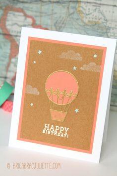 """{Carterie} - """"Happy Birthday"""" montgolfière // Hot air balloon birthday card - Bricabrac Juliette bricabracjuliette.com"""