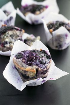 Fully loaded Vegan Blueberry Muffins with a lemon zest topping and homemade Blueberry Jam Swirl.