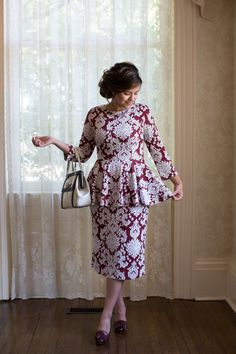 Modest Fashion | Modest Bridesmaid Dresses | Wine Damask Far Above Rubies Dress