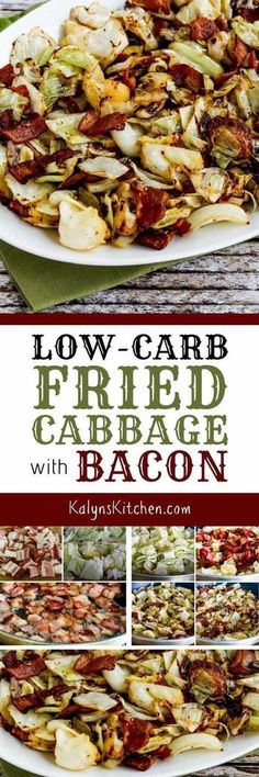 Low-Carb Fried Cabbage with Bacon is super quick, super easy, and super delicious! This is perfect for Keto diets, and it's also gluten-free, dairy-free, and can be Paleo with the right bacon choice. [found on KalynsKitchen.com] #FriedCabbage #FriedCabbageWithBacon #LowCarbCabbageRecipe #KetoCabbageRecipe #CabbageRecipe