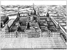 The history and purpose of El Escorial monastery in Madrid. Bautista de Toledo and Juan de Herrera designed El Escorial.