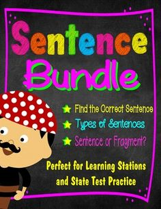 This Sentence Bundle contains all three sets of my sentence task cards and quizzes.  The sets are:1.  Which Type of Sentence?2.  Sentence or Fragment?3.  Which Sentence Is Correct?Each set includes 32 task cards, for a total of 96 task cards in all. Each set also includes a free quiz, as well as displayable answer keys.