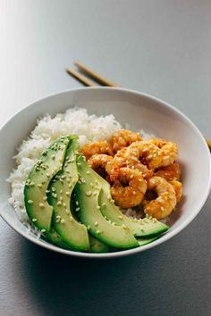 Healthy Meal Prep, Healthy Snacks, Healthy Eating, Healthy Recipes, Dinner Healthy, Salad Recipes, Sushi Recipes, Shrimp Recipes, Drink Recipes