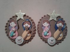 Imanes navideños Christmas Nativity, Christmas Ornaments, Pasta Flexible, Christmas Decorations, Holiday Decor, Stamp Making, Biscuit, Diy And Crafts, Polymer Clay