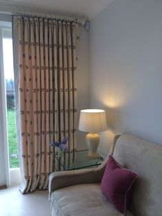 Contrast edged goblet headed curtains
