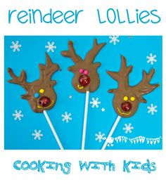 HOMEMADE CHOCOLATE REINDEER LOLLIPOPS - easy and tasty Christmas cooking with kids...and they make great homemade gifts too!