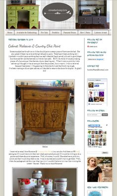Review Country Chic Paint (DIY furniture & home decor paint): http://createinspireme.blogspot.ca/2014/01/cabinet-makeover.html