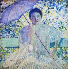 """Do you like the colors and the light in """"Lady with a Sunshade"""" by Frederick Frieseke?  He was an American Impressionist painter who spent most of his life as an expatriate in France and was friends with Monet. Frieseke's paintings often focus on the various effects of dappled sunlight.  This would make a beautiful custom gift from www.littleblackboxboutique.com"""