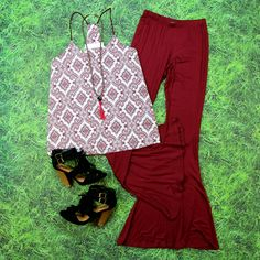Shop these AMAZING Fit and Flare Leggings in Wine for $37, always with free shipping!